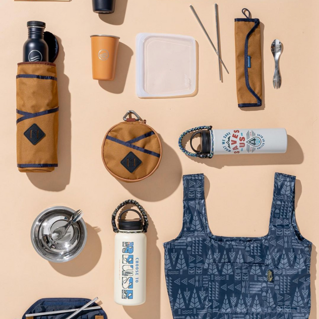Geo Tree Patern Packable Tote and Birch Wood Coffee Bottle