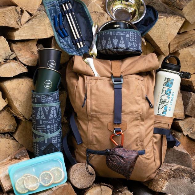 Tree Grain Packable Tote, Geo Tree Pattern Drink Kit, Strawkit, Bowl Kit