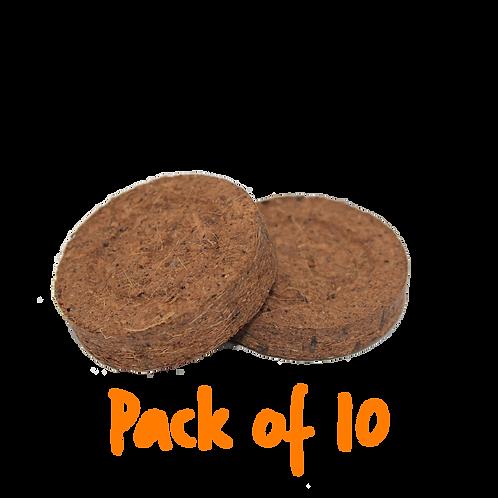 10 Small Coconut Coir Compost Discs