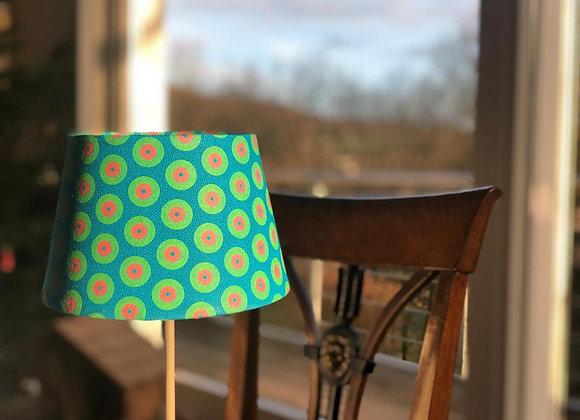 Lampe shweshwe disque vert/turquoise