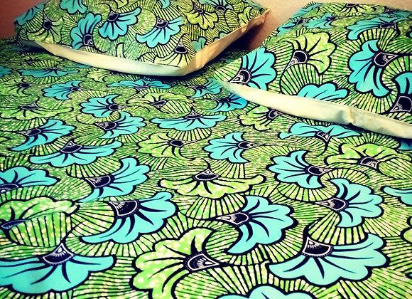 Housse de couette double fleur de mariage turquoise et vert