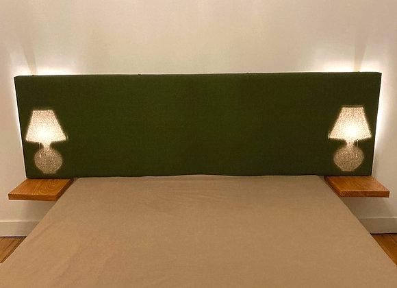 Tête de lit, lampes de chevet incorporées