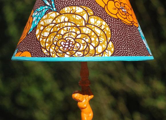 Lampe pied métal peint abat jour fleuri