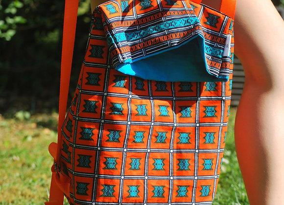 Sac à dos motifs carrés orange turquoise