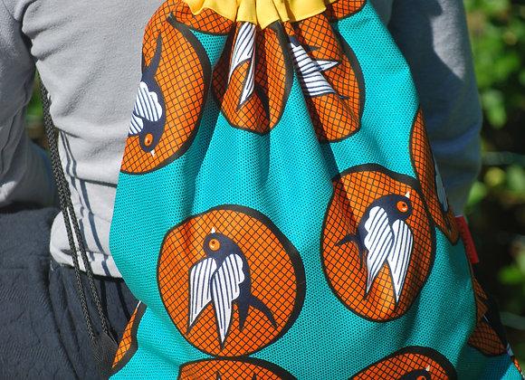 Sac à dos motif oiseaux turquoise orange blanc noir