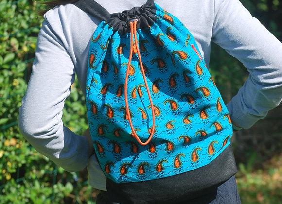 Sac à dos motif virgules turquoise orange