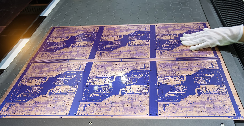 A panel of Printed Circuit Boards going through the PCB Fabrication process.