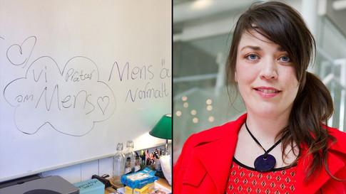 Louise pratar om mens i Aktuellt (SVT)