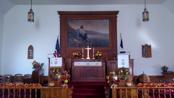 Picture over altar a Zion