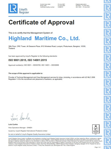 Highland - ISO 9001 2015 and ISO 14001 2015 - 14 June 2024