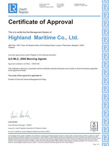 Highland - ILO MLC 2006 Manning Agents - 14 June 2024