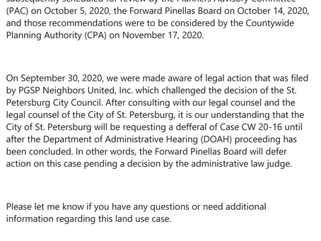 Forward Pinellas Delays Hearing Oct. 9 2020