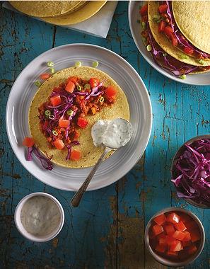 Tacos aux lentilles, sauce à la lime