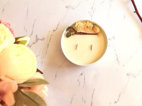 Grande bougie fleurie - Fleur de coton
