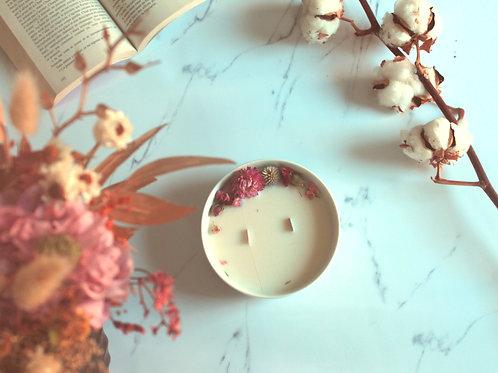 Bougie fleurie -fleur de lin
