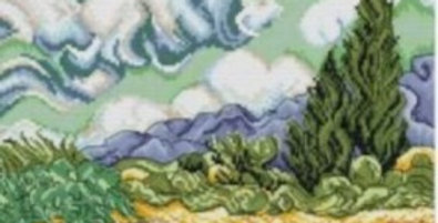 Wheat Field with Cypresses Counted Cross Stitch Kit 14CT 40x32cm