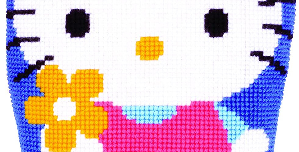 Hello Kitty with Flower Cross Stitch Cushion Kit