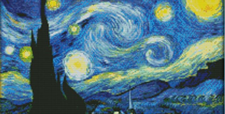 The Starry Night Counted Cross Stitch Kit 14CT 46x35cm