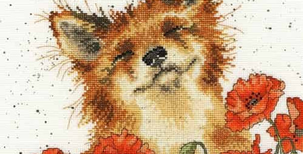 Amishop: Fox smelling poppies