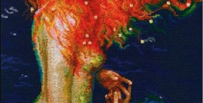 Mermaid in Repose: Counted Cross Stitch Kit 14CT 28x27cm