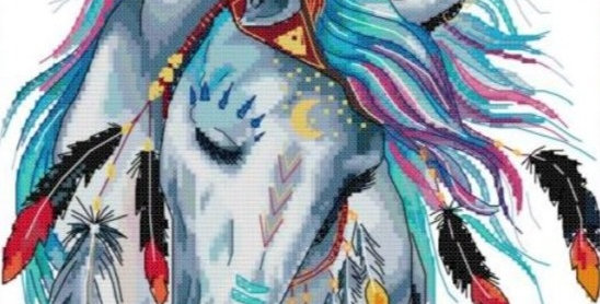 Rainbow Horse  Counted Cross Stitch Kit 14CT 31x37cm