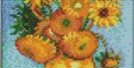 Sunflowers: Vase with Twelve Flowers: Counted Cross Stitch Kit 14CT 19x25cm