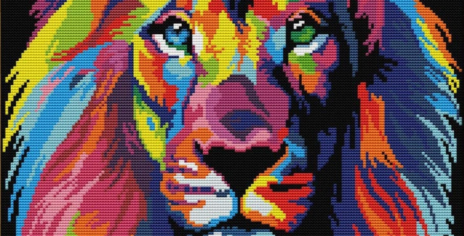 Lion's Hypnotic Stare - counted cross stitch kit 14CT 40x32cm