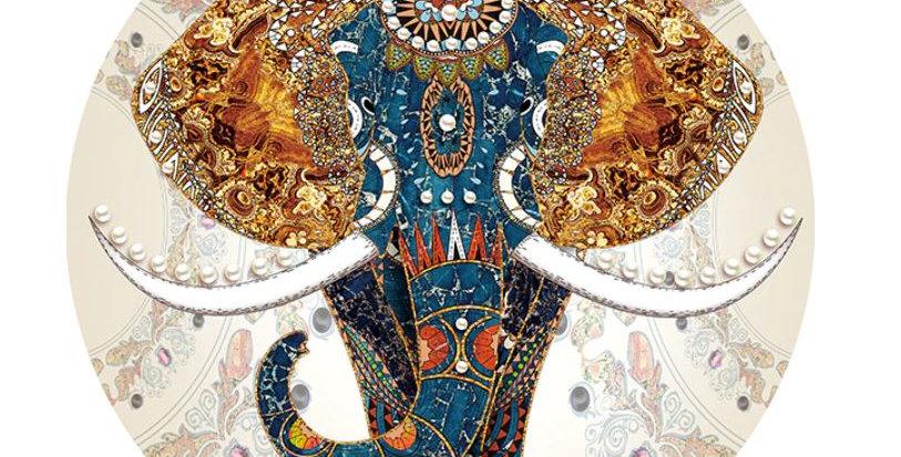 Indian Elephant: Printed 11 CT Aida 50x50cm