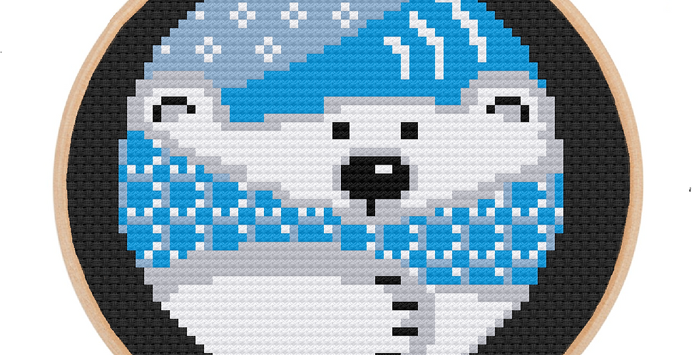"""Polar Bear Bauble - Cross Stitch Kit with 5"""" Embroidery Hoop"""