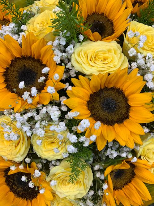 Bright Yellow Sunflowers & Yellow Roses