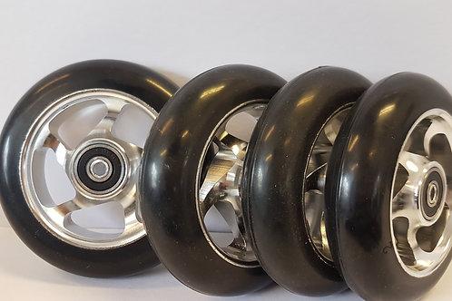 4 rulleski hjul til idt, swenor, swix eller FF Classic med banke felger og svart gummi