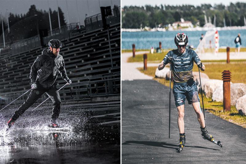 Action bilde av Ludde og Eirk Mysen på rulleskia til standardski.no