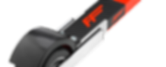 Close up of FF Classic rollerski in black with red ff logo