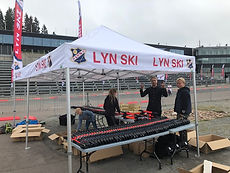 Lyn ski tent in holmenkollen with big tables full of skis from FF Rollerskis as