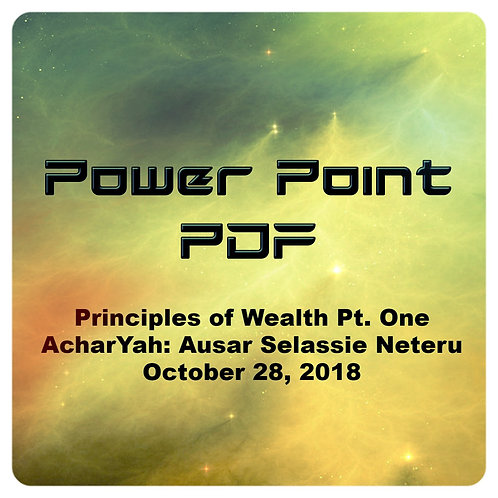 Principles of Wealth Part One