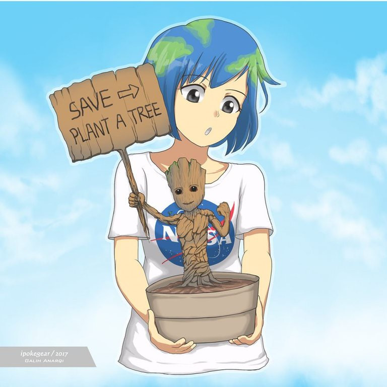 Earth-chan with Groot