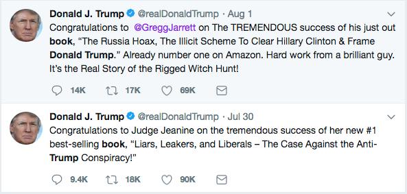Trump tweet praising books that praise him.