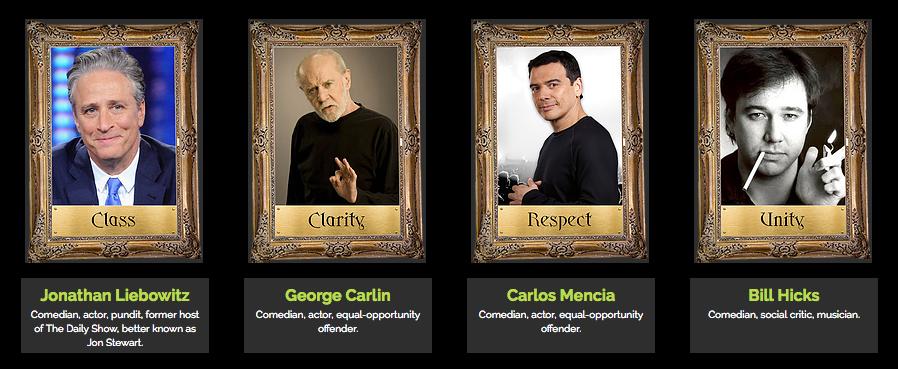 Jon Stewart, George Carlin, Carlos Mencia, Bill Hicks