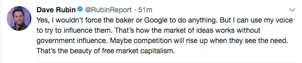 Dave Rubin Tweet on discrimination in business.