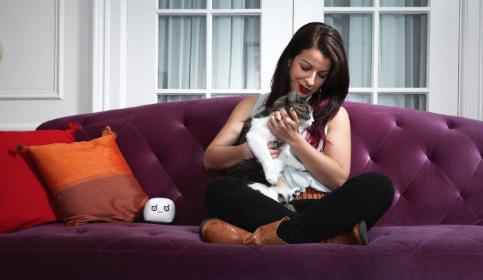 Anita petting a cat.