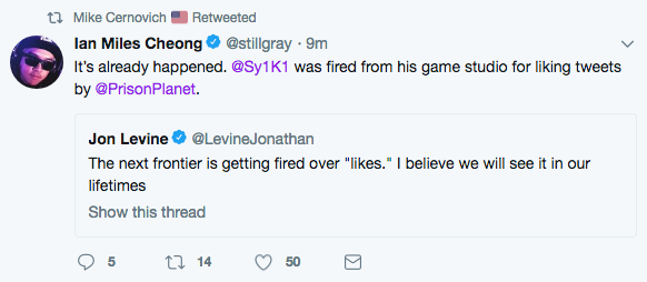 IMC tweet about firing for likes.