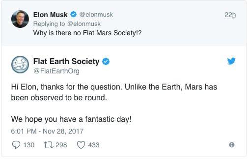 Elon Musk tweets about Flat Mars