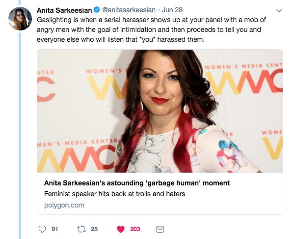 Anita's tweet about Sargon at VidCon