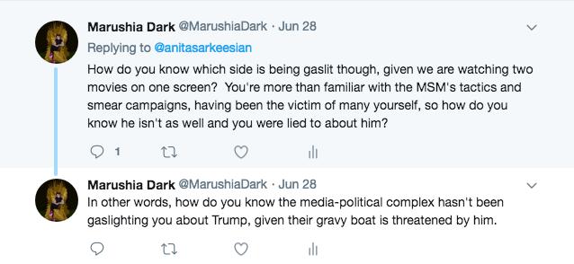 My Tweet to Anita regarding Trump gaslighting