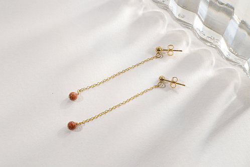 Goldstone drop earrings
