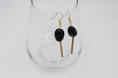 Snowflake Obsidian drop earring