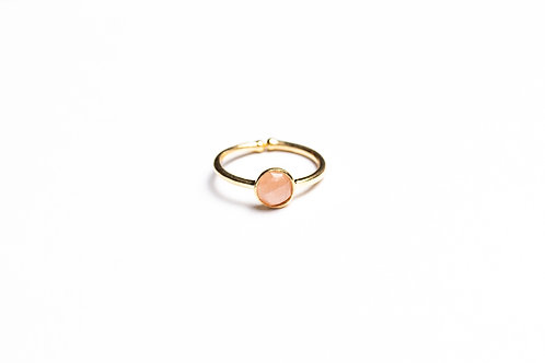 ANELLO TONDO 6X6 PEACH MOONSTONE