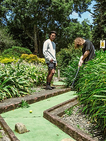 A mini golf challenge for young and old