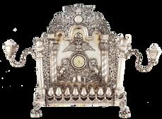 מנורת חנוכה עם שעון, גרמניה, המאה ה-19, כסף רקוע ומוטבע