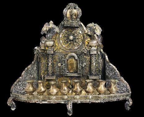 מנורת חנוכה עם ארון קודש, מזרח אירופה, המאה ה-19, כסף בעבודת פיליגרן, יצוק ומוזהב